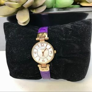 Anne Klein Purple Ladies White Faced Watch